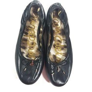 Sam Edelman Felicia Black leather Bow Ballet Flats